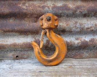 Large Vintage Hook Old ORANGE Paint Crane Machinery Machine Age Farming Industrial Vintage Old Hook Rustic Salvaged Primitive Farm vtg