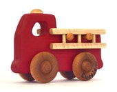 Firetruck Toy - Personalized Wooden Toy Fire Engine - Waldorf Inspired and Heirloom Quality