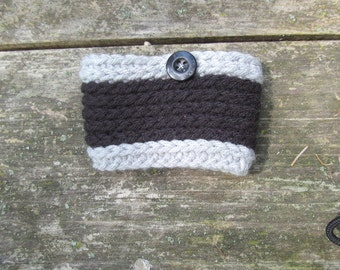 Gray and Black Coffee Cozy