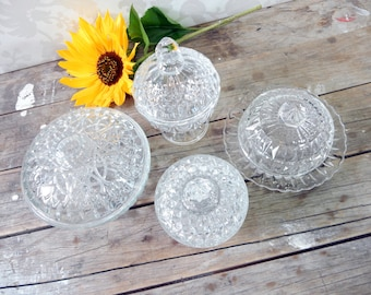 Crystal and glass Apothecary Jar lot of 4, Candy dish, DIY wedding decor, home decor