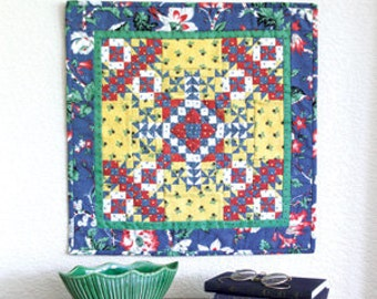 Summer Crossing Medallion Mini Wall Quilt Pattern 16 1/2'' x 16 1/2'' you can use up your scraps!   Only 2.99