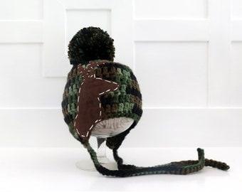 Camoflauge Deer Hunter Baby Hat   Hunting Baby Hat   Deer Crochet Hat   Crochet Hat with Felt Applique Deer - sizes baby to teen