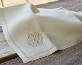 A set of Six Vintage French Linen Napkins, French Country Decor, Monogrammed Linen Napkins, Initials B.F.D.