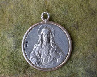 Antique religious medal, Regina Decor Carmeli, Vintage Catholic jewelry, Antique Patron Saints Medal, Silver Sacred Heart medal