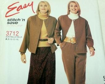 McCalls Easy Stitch n' Save Pattern 3712, Womens Jacket, Skirt, Pants, 8 - 14