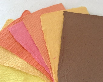 Handmade Paper - Fall Colors - Handmade Recycled Paper - Autumn - acid free textured paper