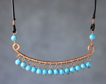 Copper wiring Turquoise necklace Bridesmaids gifts Free US Shipping handmade Anni Designs