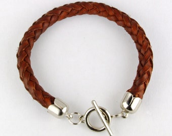 Braided leather bracelet 8 strand with metal tips and toggle clasp