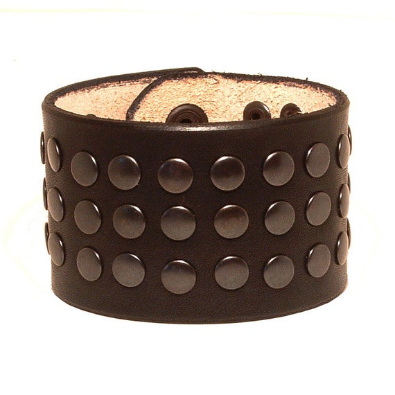Leather bracelet with rivets