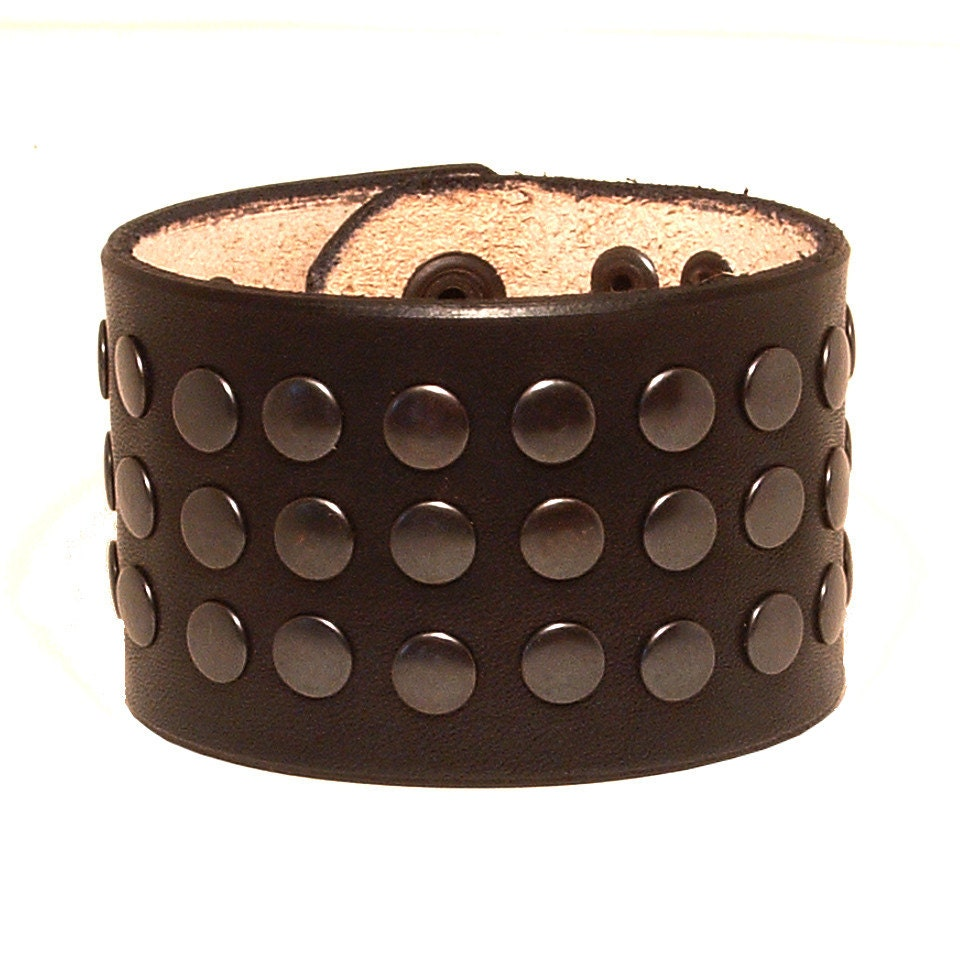 Leather bracelet with rivets lederarmband for Rivets for leather jewelry