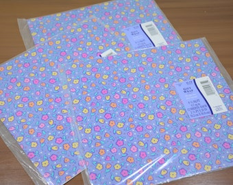1993 Hallmark Gift Wrap by Ambassador Purple with Pink, Yellow, and Orange Flowers