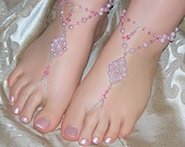 Pink Glass Pearl and Crystal Barefoot Sandals / Slave Anklets Available In 3 Sizes