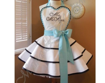 Custom Embroidered Bridal Apron Accented In Robin's Egg Blue, Featuring Personalization Of Your Choice...Perfect Bridal Shower Gift