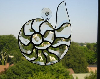 Stained Glass Art|Nautilus Suncatcher|Nautilus|Nautilus Shell|Shell Suncatcher|Glass Art|Beach|Home & Living||Handcrafted|Made in USA