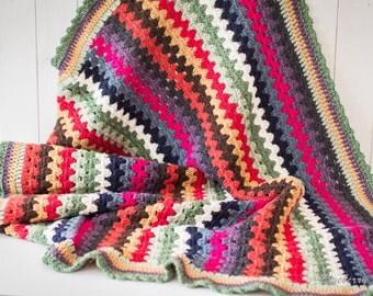 Luxury Crochet Blanket, Afghan, Granny Stripes, Handmade, 100% British Wool, Wedding, New Home Gift