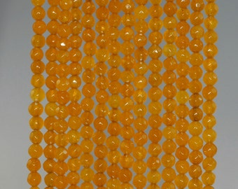 4mm Agate Gemstone Honey Yellow Faceted Round Loose Beads 15 inch Full Strand (90183801-364)