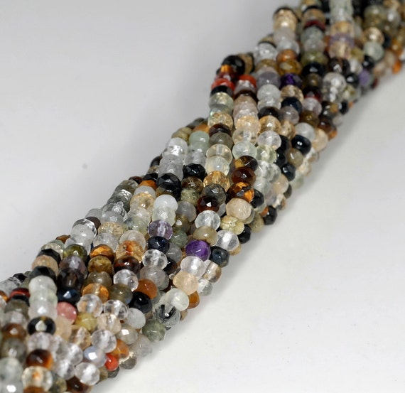 4X3-4X5MM GALA MIX QUARTZ GEMSTONE SMOOTH FACETED RONDELLE LOOSE BEADS 15.5/""