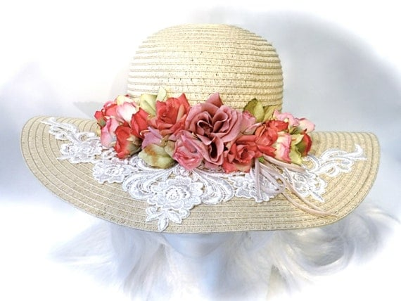 Victorian Sun Hat Dusty Rose Mother Of The Bride By