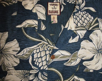 Amazing Vintage Hawaiian Shirt TOMMY BAHAMA  Tropical  Flowers W PineapplesSilk/Linen Size LVery Collectible