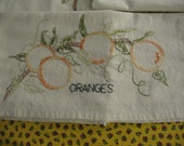 FREE SHIPPING OOAK Set of Three Dish Towels Peaches Grapes and Oranges