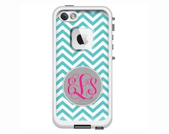 Monogrammed LifeProof Fre or Nuud iPhone 6 Plus, iPhone 6, iPhone 5s, iPhone 5 Phone Case - Chevron Pattern Custom Printed Case