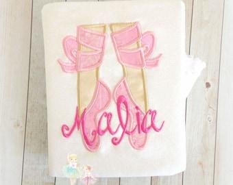 Ballerina Shirt - Ballet Shirt - Birthday Ballet Shirt - Monogrammed ballet slippers - Custom embroidered shirt for girls
