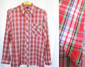 Men's Vintage Shirt Plaid Tapered M 15 -15.5