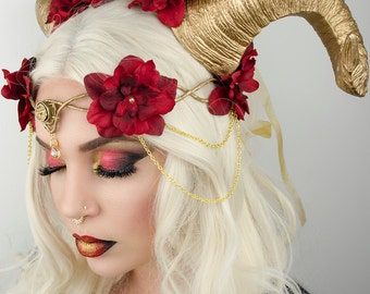 Elven crown - gold and red - halloween costume headdress - **HORNS SOLD SEPARATELY**