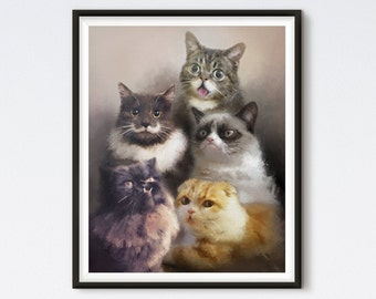 Cats On The Internet - Cat Painting - Cat Portrait - Lil' Bub - Princess Monster Truck - Waffles - Grumpy Cat - Hamilton The Hipster Cat