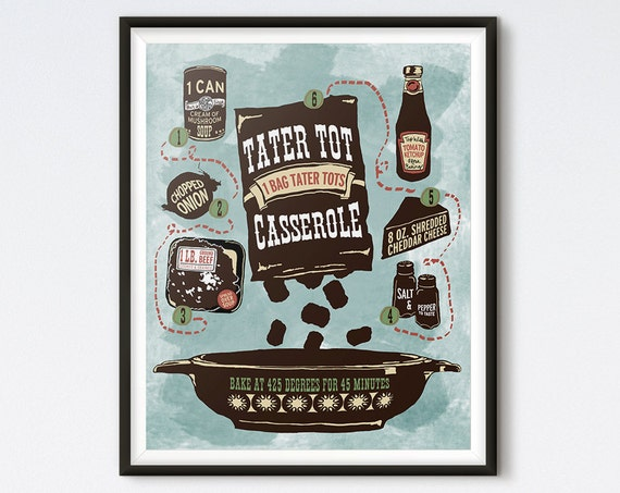 Illustrated Recipe - Tater Tot Casserole - Kitchen Art - Recipe Print - Recipe Art - Kitchen Print - Retro Kitchen Art