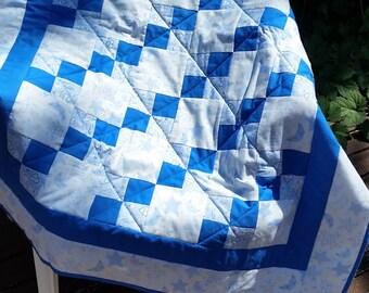 Handmade Bouncing Baby Boy Blue Quilt