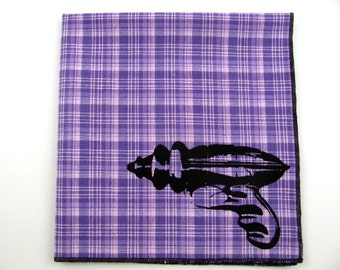 Hankie- TOY RAY GUN on super soft purple plaid cotton Hanky- Discontinued fabric- this is the last one