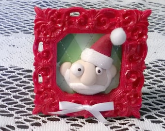 Santa Claus in a Frame Polymer Clay Ooak Figurine Decoration Gift Red Christmas Home Decor