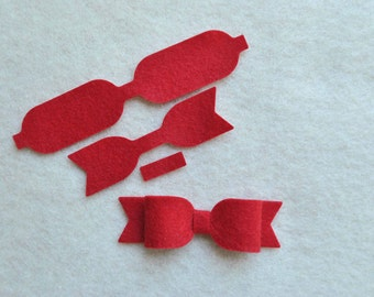 12 Piece Die Cut Felt DIY Small Emily Bows, Choose Your Colors