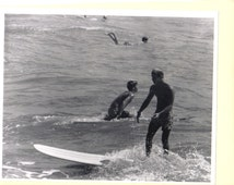 Vintage Real Photo 1967 Black and White Surfing Photo Galveston Texas Long Board