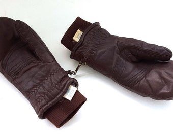 Vintage 1970s Brown Leather Roffe Women's Ski Mittens - Size Ladies' Medium - Nylon Lining Polyester Filled