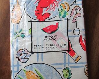 Vintage Oblong Vinyl Tablecloth - NOS