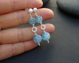 Aqua Blue Natural Gemstone Beryl Aquamarine AAA Grade 8mm and 10mm Round Shape, 925 Sterling Silver Dangle Earrings, 5mm Ball Post Earrings