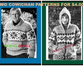 Vintage Cowichan  Knitting Patterns Mens Snowflake Pullover PLUS Unisex Hoody Pattern Instant Download on Etsy