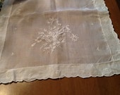 Linen embroidered table runner - table scarf - white