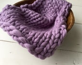 RTS Rustic Wool merino hand knit layer in Lilac ... Big and chunky knit mini blanket for newborn photography, thick ooak