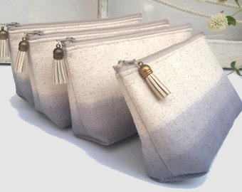 Bridesmaid Gift, Grey Ombre Clutches with Tassels, Linen Bridesmaid Clutches, Rustic Wedding - Set of 8 PLUS FREE GIFT