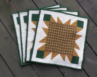 Sunflower Star Placemat (set of 4) plaid sunflower yellow green summertime picnic family dinner mustard yellow farmhouse country table décor