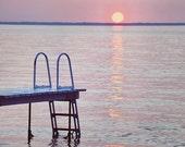 Pink and Purple Photograph, Lake Picture, Sunset Photography, Dock Photo, Cottage Wall Art, Romantic Artwork, Coastal Art Print