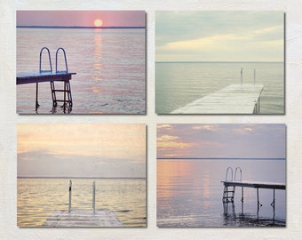 Sunset Photography, Romantic Print Set of Four Photographs, Coastal Artwork Set, Pink Purple and Grey Art, Lake House Decor, 4 Dock Picture