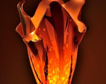 Flame Lamp II - Modern Orange Fused Glass Table Lamp
