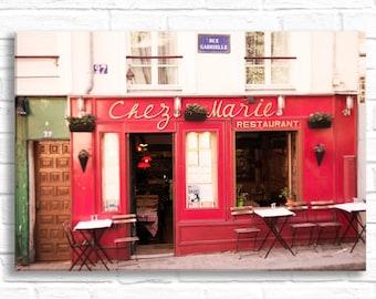 Paris Photography on Canvas - Chez Marie, Montmartre, Paris Cafe, French Home Decor,  Kitchen Decor, Large Wall Art