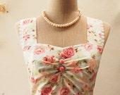 Garden of Goddess Blue Coral Floral Tea Party Dress Tea Dress Summer Dress Floral Bridesmaid Dress Vintage Floral Dress-XS,S,M,L,XL,Custom