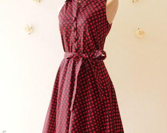 SALE Polkadot Dress Shirt Dress Black Red Dot Party Dress Red Summer Dress Bridesmaid Dress Shirt Vintage Inspired Sundress  -Size XL