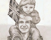 Large Custom Double portrait - Original pencil drawing from a photograph